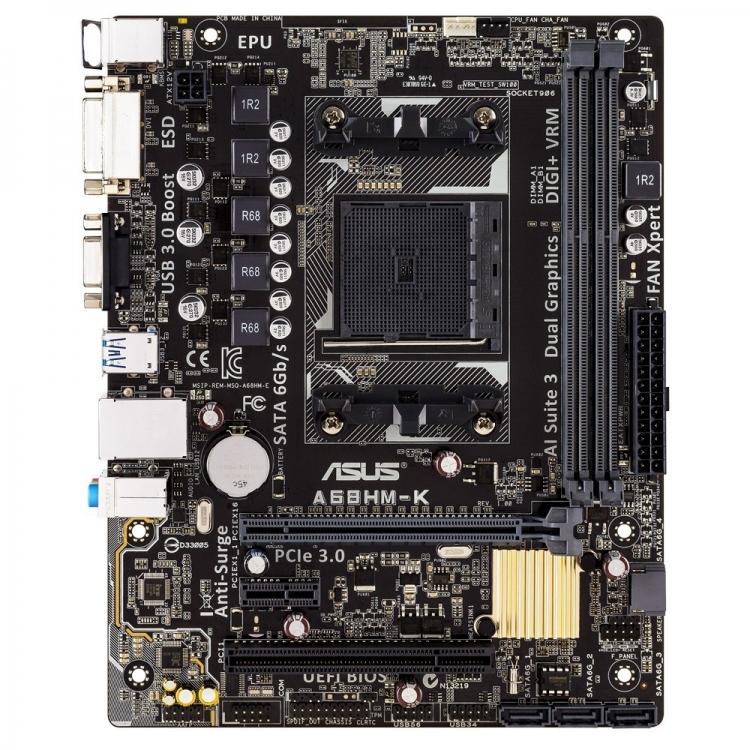 Tarjeta Madre ASUS micro ATX A68HM-K, S-FM2+, AMD A68H, USB 2.0/3.0, 32GB DDR3, para AMD