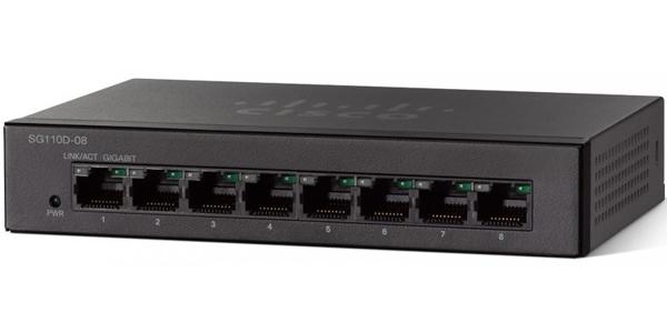 Conmutador Ethernet Cisco SG110D-08 8 - 8 Red - Par trenzado - 2 Capa compatible - Montable en basti