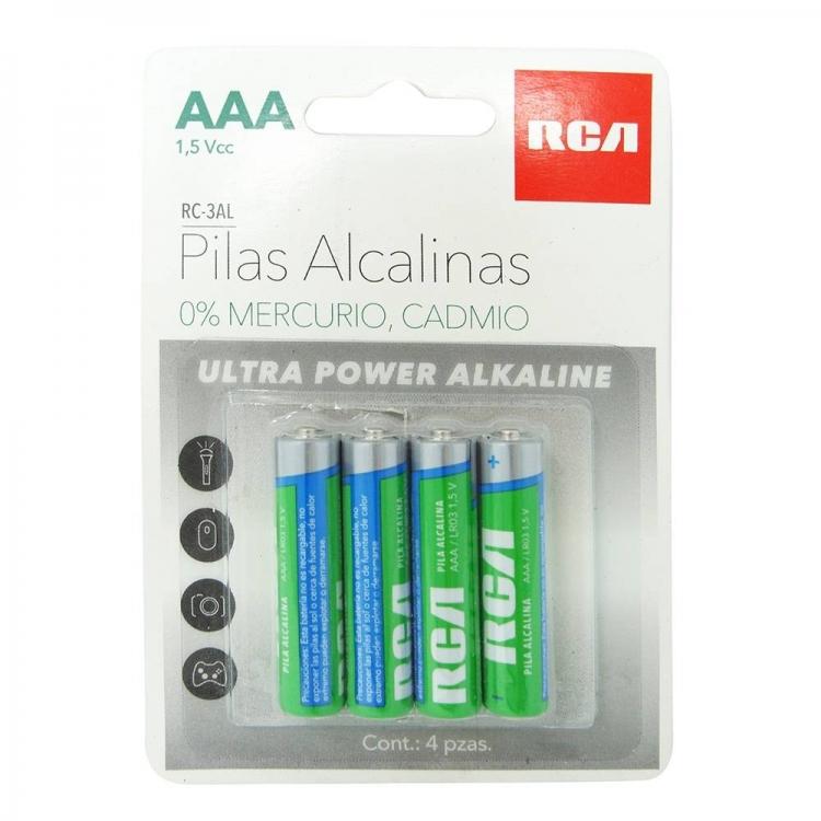 Paquete 4 Pilas RCA Alcalina AAA RC-3AL