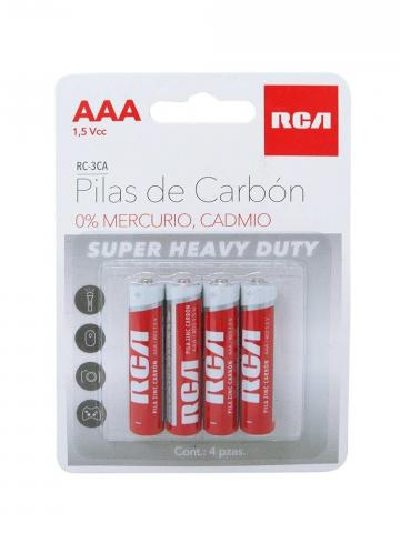 Paquete 4 Pilas de Carbón AAA RCA RC-3CA