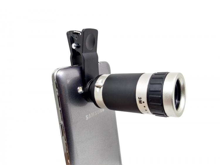 Lente Telescopio Universal Para Celulares 8x Negro Con Gris