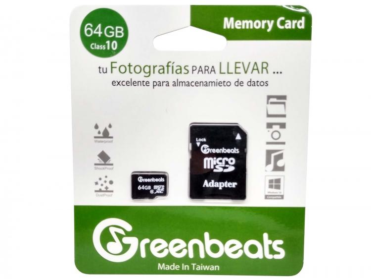 Memoria Micro SDHC Greenbeats 64Gb Clase 10