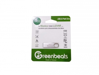 Memoria USB Greenbeats 64Gb 2.0 Flash Drive Metálica