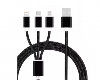Cable 3 En 1 Micro Usb, Tipo C, Lightning Carga Y Transferencia De Datos
