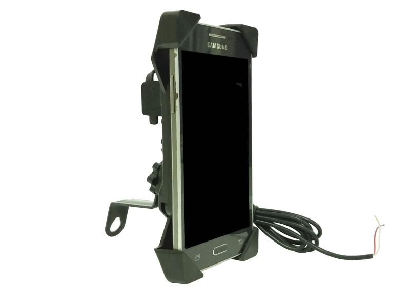 Base Soporte De Celular Para Retrovisor De Moto Con Cargador Usb Integrado