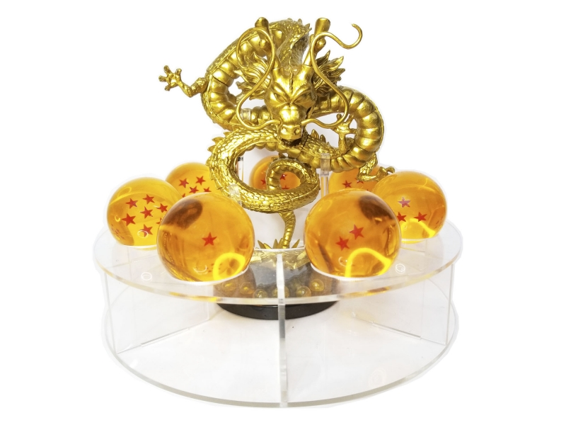 Esferas Del Dragón De 4.4 cm Ø + Shenlong Dorado + Base