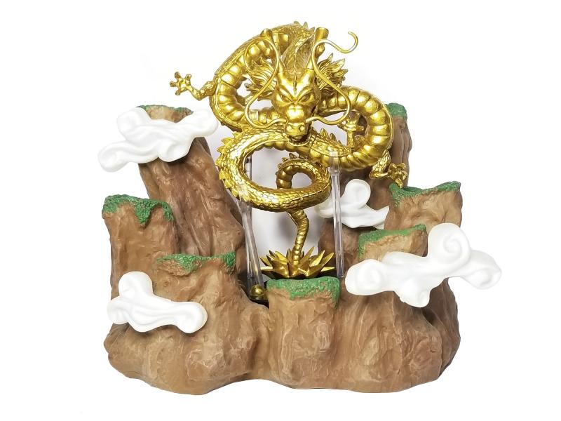 Base Forma De Montaña Paoz Para Esferas Del Dragon De 4.4cm De Diámetro + Figura De Shenlong Dorado