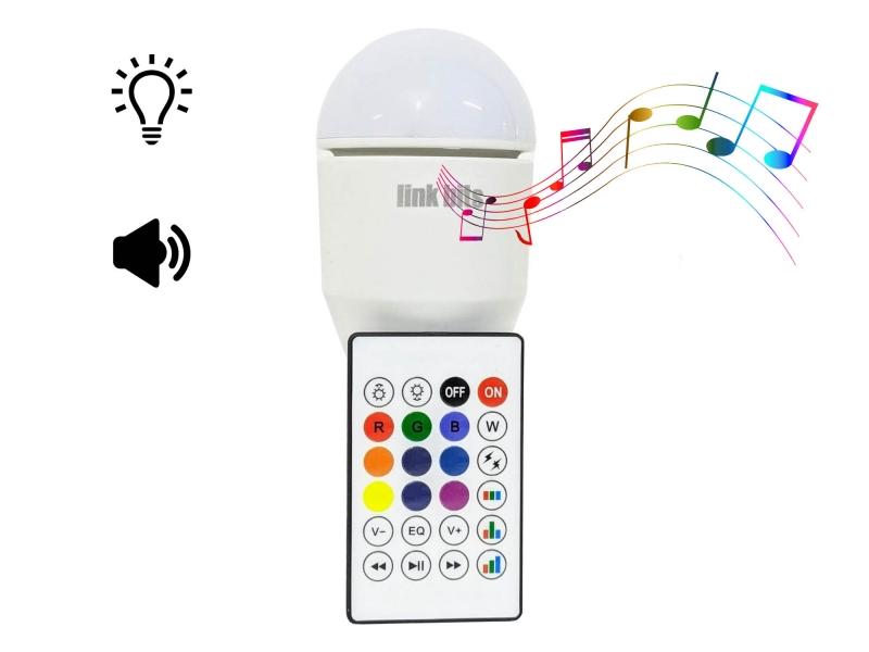 Foco Led RGB Multicolor Con Bocina Bluetooth Rosca E27