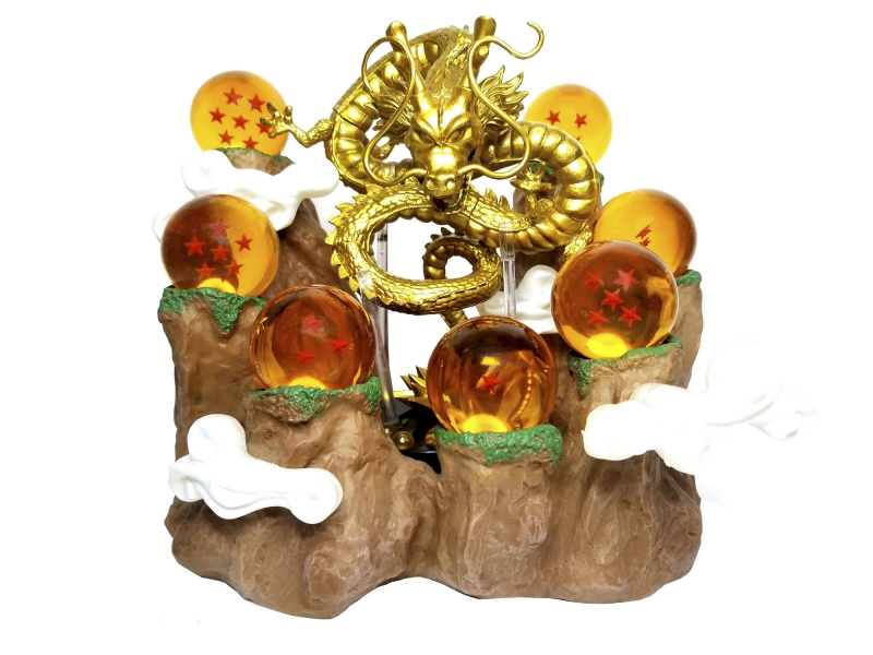 Set Esferas Del Dragón De 4.4cm ø + Base Montaña Paoz + Shenlong Dorado