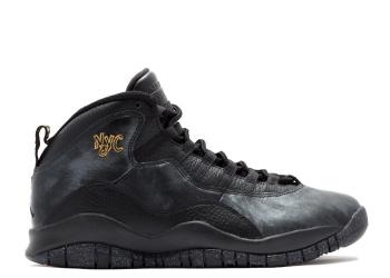 Traphouse Sneakers | Air jordan retro 10 nyc city pack black black drk grey mtllc gld