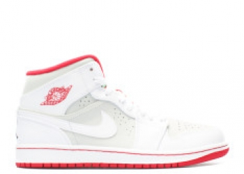 Traphouse Sneakers | Air jordan 1 mid wb hare white true red lght silver blk