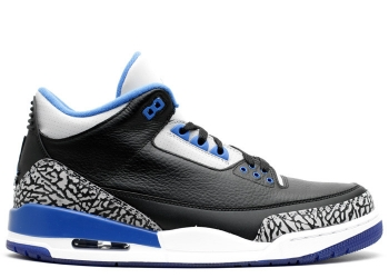 Traphouse Sneakers | Air jordan 3 retro black sport blue wolf grey