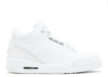 Traphouse Sneakers | Air jordan 3 retro pure white metallic silver