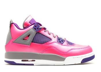 Traphouse Sneakers | Girls air jordan 4 retro gs pnk fl wht cmnt gry elctr prpl