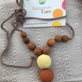 Modern Mama Necklace Yellow with Rusty Brown