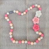 Collar Flores Rosa con Beige